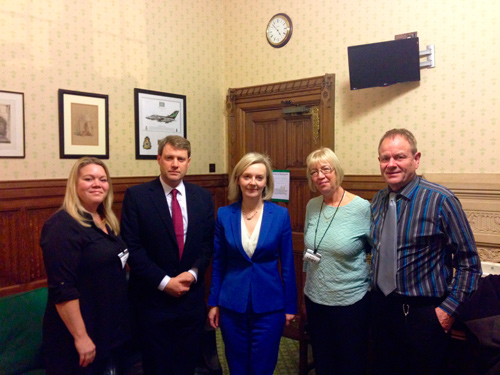 Kelly Woodruff and Chris Skidmore with the Justice Secretary Liz Truss and Ross's parents Dawn and Edwin Simons