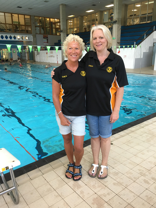 Keynsham Swimming Club coaches Thelia Beament and Lynne Bartlett celebrate Siobhan-Marie O'Connor's Olympic success