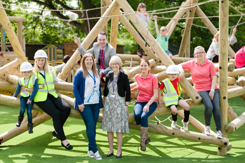 Meadows headteacher Joy Mounter with Wellsway Multi Academy Trust chief executive Andrea Arlidge and her deputy Matthew Cottrell with representatives of Linden Homes and the Friends of the Meadows on the new play equipment