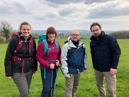 From left to right: Sophie Baugh, Charlotte Nicol, Paul Nicol and John Revelle are pictured training for the Three Peaks Challenge, which takes place in July